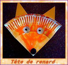 Une très chouette idée piquée sur pinterest : un bricolage rapide pour les plus petits.  Charliea peint en orange un quart d'assiette en carton, puis a ajouté les yeux et le nez. J'ai agraphé ...