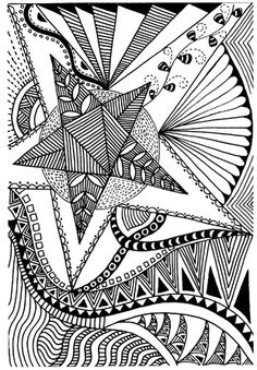 zentangle program for teens...create spaces of different shapes and then fill them in with repeating doodle patterns...could add color too.