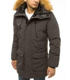 Šedá pánska zimná bunda s kapucňou Shinee, Metallica, Hoods, Hooded Jacket, The North Face, Tommy Hilfiger, Rain Jacket, Windbreaker, Raincoat