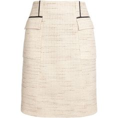 JASON WU A-line Tweed Skirt with Leather Piping