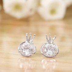 adtl hearts arrows cut zirconia crown shaped stud earrings 925 sterling silver earrings engagement fine
