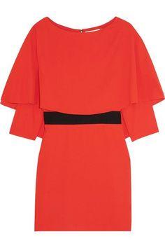 Alice Olivia - Cairo Cape-back Crepe Mini Dress - Tomato red - US8