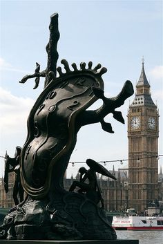 Dalí Clock and Big Ben in central London I want to see this! Plus I REALLY love that statue so that is mega cool!