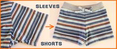 Nap Time Crafters: Baby Shorts from Sleeves! I wanna try this with bigger shirt sleeves for the bigger kids