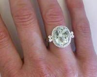 Antique Style Oval Green Amethyst Engagement Ring (GR-2050) $1399 (Retail Value: $3000)