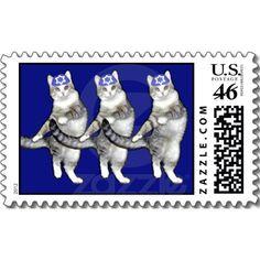Dancing Hanukkah Cats - Sheet of Postage Stamps
