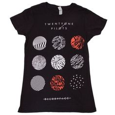 Twenty One Pilots Blurryface Pattern Circles Unisex Print Black... ($16) ❤ liked on Polyvore featuring tops, t-shirts, shirts, circle top, patterned tees, print shirts, circle t shirt and patterned tops
