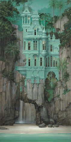 Address Unknown — Daniel Merriam's Bubble Street Gallery Dimensions: 24 x Substrate: Canvas Edition Total: 150 We offer layaway payment options. For details, please contact us . Beautiful Castles, Beautiful Buildings, Beautiful Places, Fantasy Places, Fantasy World, Abandoned Mansions, Abandoned Places, Street Gallery, Fantasy Landscape