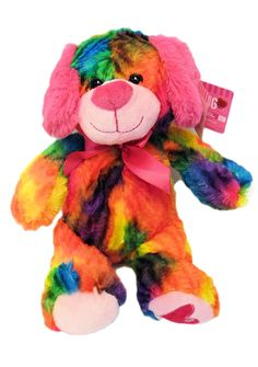 b9d5a876aeb Bright Tie Dye Puppy Dog Plush Stuffed Toy Animal 10 inches     Remain to  the product at the photo link.