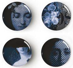 Assiette Osorio Yuan / Set de 4 Graphismes gris-bleu / Extérieur blanc - Ibride