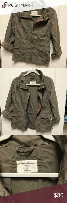 Olive Green Utility Jacket This jacket has sleeves that can be cuffed, the back can be cinched in for a more fitted fit. There is light pink detailing around the zipper. Make me an offer! Eddie Bauer Jackets & Coats Utility Jackets