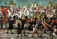 Band Leading Parade - Anton Pieck, Dutch painter, artist and graphic artist.