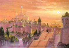 Tirion is a Ñoldorin city on the hill of Túna in Valinor. It watches through Calacirya, the Gate of Light to Alatairë (Quenya), the Great Sea. - Eärendil Searches Tirion, by Ted Nasmith