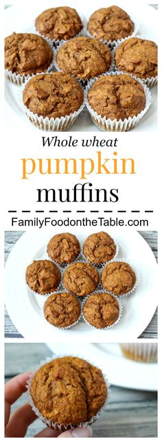 These whole wheat pumpkin muffins are moist and delicious and perfect for school lunches! Baby Food Recipes, Baking Recipes, Whole Food Recipes, Muffin Recipes, Healthy Breakfast Muffins, Breakfast Recipes, Healthy Pumpkin Muffins, Pumpkin Recipes, Fall Recipes