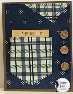 At my card class last week my dear friend Lori Bateman said she was desperate for masculine cards and paper, so Lori, this is for you! This card is so simple with Stampin' Up's Pocketful of Sunshine Bundle you can whip this up in no time as