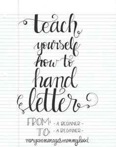 Letter Discover Teach Yourself How to Hand Letter - Morgan Manages Mommyhood Requiring little more than a pen and paper hand lettering is accessible to everyone. Read on for how to teach yourself how to hand letter. Hand Lettering For Beginners, Hand Lettering Tutorial, Hand Lettering Fonts, Doodle Lettering, Creative Lettering, Handwriting Fonts, Brush Lettering, Penmanship, Lettering Ideas