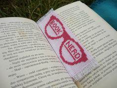 Cross stitch bookmark - Book Nerd, embroidered bookmark, gift for readers, book… Diy Bookmarks, Cross Stitch Bookmarks, Cross Stitch Books, Beaded Cross Stitch, Cross Stitch Kits, Cross Stitch Patterns, Diy Embroidery, Cross Stitch Embroidery, Book Markers