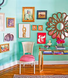 Caitlin Wilson Philadelphia Apartment - Colorful Home Decor - Good Housekeeping-- fun mirror!!