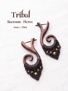 earrings wood+macrame