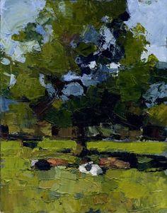Chris Bennett, Cows, Summer, Acrylic, 45 x 39 cm, £650