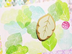 leaf rubber stamp. hand carved by talktothesun