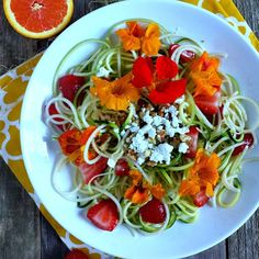 9. Zucchini & Green Apple Noodle Salad with Citrus Vinaigrette & Edible Nasturtiums from @ZenAndSpice