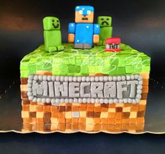 Minecraft Cake-the logo writing on this cake is great