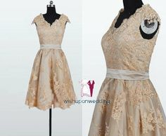 Gold lace reception dress - see more reception dress ideas on http://themerrybride.org/2014/04/15/reception-dresses-2/