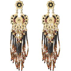 Gas Bijoux 24kt Gold Plated Earrings (10.485 RUB) ❤ liked on Polyvore featuring jewelry, earrings, brown, multicolor, beaded earrings, colorful earrings, boho chic jewelry, boho earrings and brown earrings