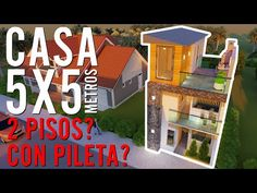 HOUSE in LAND of 5X5 METERS with POOL and 2 FLOORS? - YouTube Small Modern House Plans, Small House Design, House Construction Plan, Architectural House Plans, Casas Containers, House Elevation, Pool Houses, 2nd Floor, Little Houses