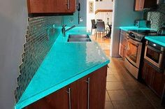 Water look counters, I'm thinking in an all white otherwise kitchen