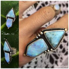"The ""Angel Alchemy"" Talisman ring features Opal and Larimar bringing together light workers intuition from the opal and light being/atlantean/lemurian wisdom with the Larimar and a touch of gold to add fire and motivation to this magic. I was also informed recently that the four rows of ring band signify Atlantis as well. #lightningridgeopal #larimar #larimarring #larimarjewelry #beachyjewelry #beachy #hawaii #maui #opal #opals #opalring #opaljewelry #octoberbirthstone #atlantis #wisdom…"