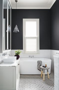Get Inspired with 20 Luxury Black and White Bathroom Design Ideas Stunning Black and White Subway Tiles Bathroom Design Bathroom Tile Designs, Bathroom Colors, Bathroom Interior Design, Bathroom Ideas, Restroom Design, Bathroom Trends, Budget Bathroom, Bathroom Organization, Grey Bathrooms