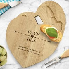 Engraved Wooden Heart Cheese Board Set - Cupid Arrows