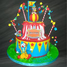 Carnival of Fun Specialty Cake: SC-30005 | Palermos Bakery - like this decoration all hanging up around the cake but cannot take that clown...