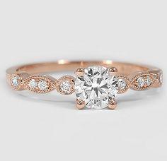 Delicate detailed rose gold diamond ring