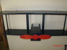 BiPlane Wall Shelf Navy Blue/Red by Midwestclassiccrafts on Etsy, $98.00