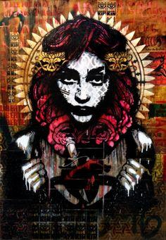 Liberte70x100  by Kathrina rupit , kinmx, Love , girl . pink hair, ink , spray paint , collage , street art , stencil ,female, mixed media, pop surrealism, urban art