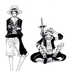 Clothes switch. Law wears Luffy's clothes and Luffy wears Law's clothes