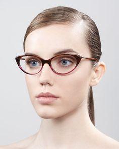 Tom Ford Cat-Eye Fashion Glasses, Striped Brown - Neiman Marcus