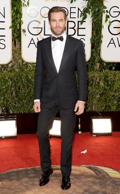 Chris Pine In Zegna at 2014 Golden Globes