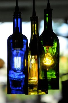 Custom Order for Damon - Recycled Glass Wine Pendant Lamp Edison Lightbulb Chandelier. $356.00, via Etsy.