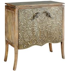 "Hilario Cabinet: ""A testament to the art of cabinetry, our handsome Hilario is crafted of mango wood with a dove gray finish. Highlighted by an intricately embossed iron front, it's a beautiful statement piece and stylish storage for your home. Furniture Sale, Home Decor Furniture, Shabby Chic Furniture, Furniture Plans, Wood Furniture, Diy Home Decor, Unusual Furniture, Furniture Websites, Furniture Removal"