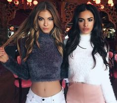 On set with TM babes @melwitharosee & @sophiamiacova wearing new #tigermistthelabel 'Silence' knit crop $54.95! Left - online now. Right - coming soon.