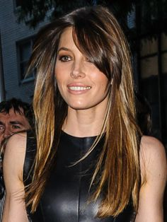 Jessica has grown out her fringe and we love the side-swept effect. This works perfectly with ombre tones as her roots are naturally healthy, making the face-framing side fringe super glossy.