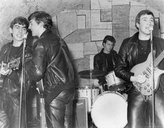1961 - The Beatles (George Harrison, Paul McCartney, Pete Best and John Lennon), The Cavern Club, Liverpool, England.