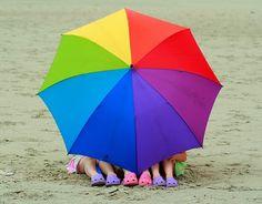 unbrella and crocs