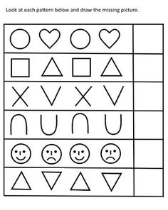 Look at each pattern below and draw the missing picture.
