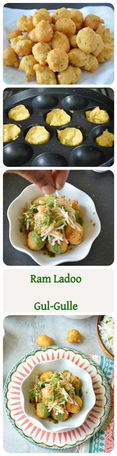 'Ram-Ladoo' or 'Gulgule' - Here is the popular street-food of Delhi. If you are from Delhi you cant miss on this one. Deep-fried Moong-dal Fritters that are topped with shredded radish and tangy chutneys. Veg Recipes, Indian Food Recipes, Asian Recipes, Vegetarian Recipes, Cooking Recipes, Recipies, Indian Appetizers, Indian Snacks, Comida India