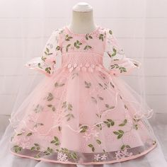 Bolayu Infant Kids Baby Girl Long Sleeve Floral Princess Dress Outfits Clothes